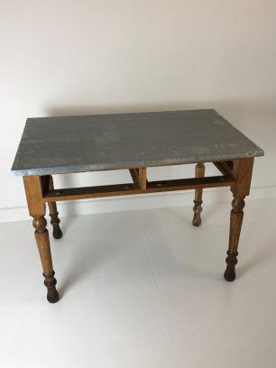 Zinc topped school desk now potting table