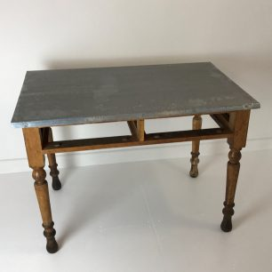 Zinc topped school desk now potting table